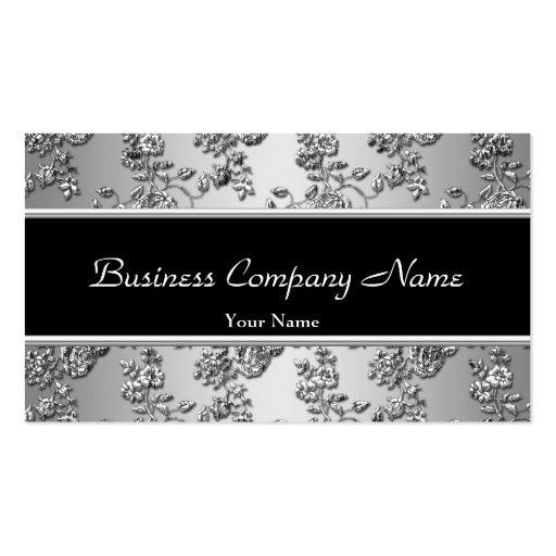 Elegant Classy Silver Black Embossed Floral Business Cards