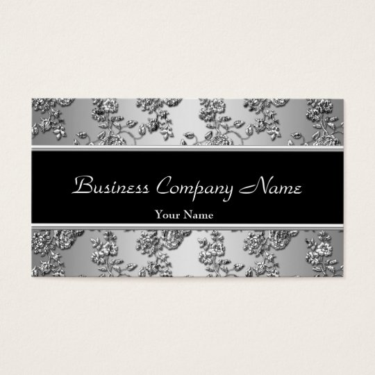 Elegant Classy Silver Black Embossed Floral Business Card