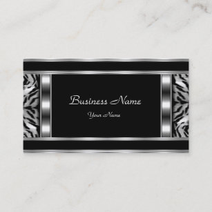 Silver embossed business cards business card printing zazzle uk elegant classy silver black leopard business card colourmoves