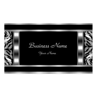 Elegant Classy Silver Black Leopard Double-Sided Standard Business Cards (Pack Of 100)