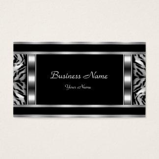 Elegant Classy Silver Black Leopard Business Card