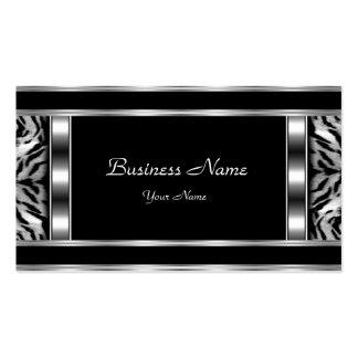 Elegant Classy Silver Black Leopard Pack Of Standard Business Cards
