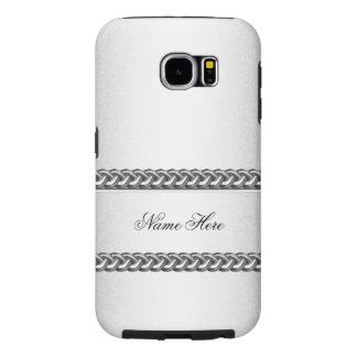 Elegant Classy Silver Chain Image White Gray Samsung Galaxy S6 Cases