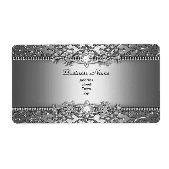 Elegant Classy Silver Damask Embossed Jewel Shipping Label