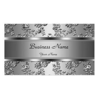 Elegant Classy Silver Embossed Floral Look Double-Sided Standard Business Cards (Pack Of 100)