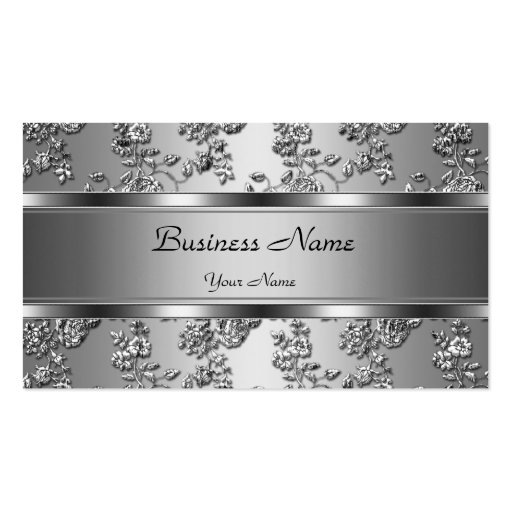 Elegant Classy Silver Embossed Floral Look Pack Of Standard Business Cards