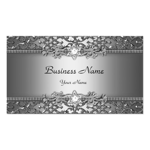 Elegant Classy Silver Gray Damask Embossed Look Business Cards