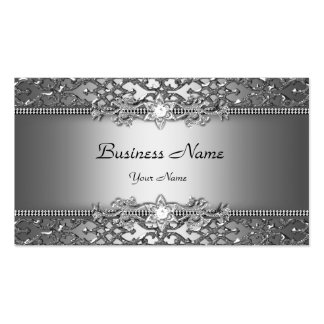Elegant Classy Silver Gray Damask Embossed Look Pack Of Standard Business Cards