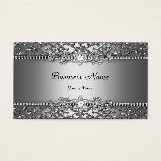 Elegant Classy Silver Grey Damask Embossed Look Business