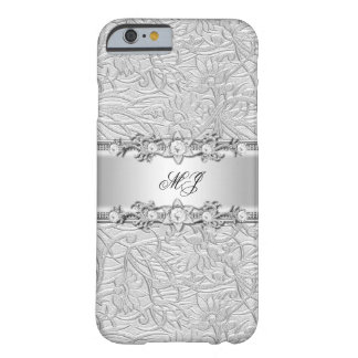Elegant Classy Silver White Damask Barely There iPhone 6 Case