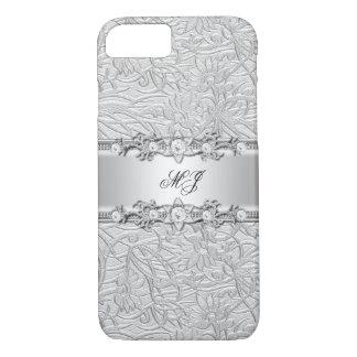 Elegant Classy Silver White Damask iPhone 8/7 Case