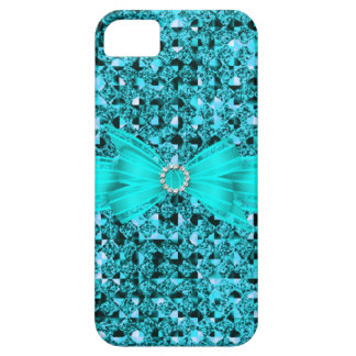 Elegant Classy Teal Blue silver Glitter Look Case For The iPhone 5