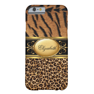 Elegant Classy Tiger Leopard Animal Gold Black 2 Barely There iPhone 6 Case