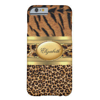 Elegant Classy Tiger Leopard Animal Gold Black Barely There iPhone 6 Case