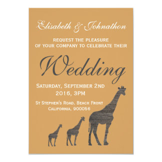Elegant Clay Giraffe Wedding Card