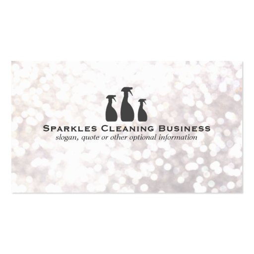 Create your own maid business cards elegant cleaning service white bokeh business card reheart Image collections