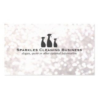 Elegant Cleaning Service White Bokeh Pack Of Standard Business Cards