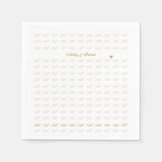 elegant, clear and simple monogrammed white paper napkin