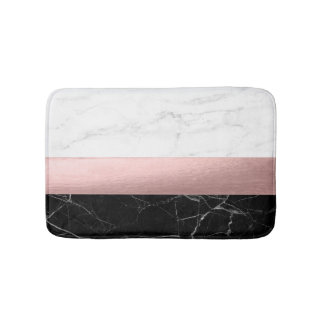 elegant clear black white marble rose gold foil bath mats