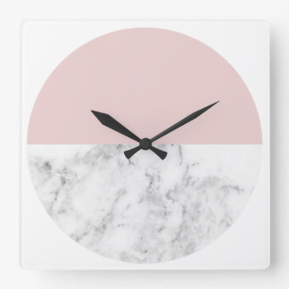 elegant clear blush pink marble geometric circle square wall clock