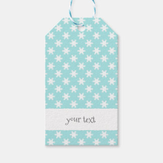 elegant clear Christmas snowflakes pattern blue Gift Tags