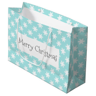 elegant clear Christmas snowflakes pattern blue Large Gift Bag