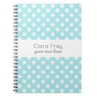 elegant clear Christmas snowflakes pattern blue Notebooks