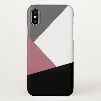 elegant clear dusty pink, black, grey geometrics iPhone x case