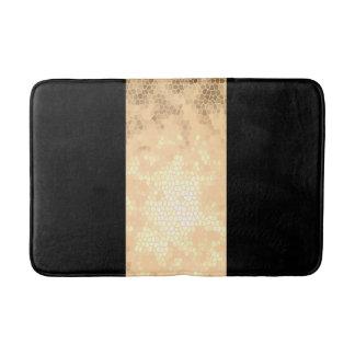 elegant clear faux gold and black stripes bath mats