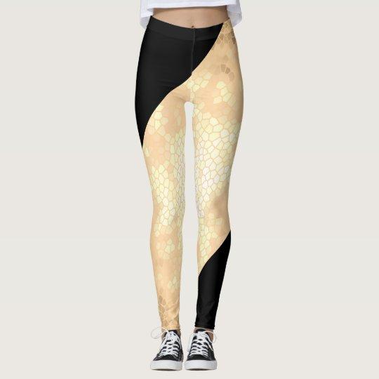 elegant clear faux gold and black stripes leggings