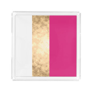 elegant clear faux gold foil pink white stripes acrylic tray