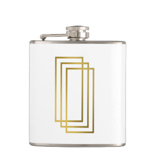 elegant clear faux gold geometric rectangles hip flask