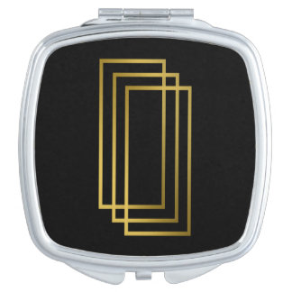 elegant clear faux gold geometric rectangles travel mirrors