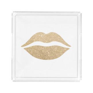 elegant clear faux gold glitter lips acrylic tray