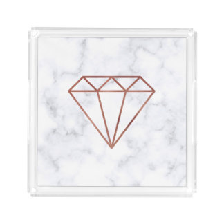 elegant clear faux rose gold diamond white marble acrylic tray