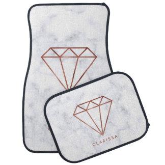 elegant clear faux rose gold diamond white marble car mat