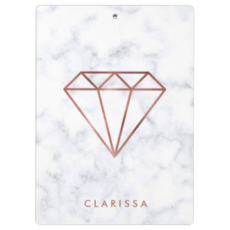 elegant clear faux rose gold diamond white marble clipboard