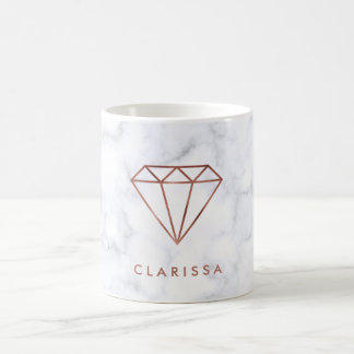 elegant clear faux rose gold diamond white marble coffee mug