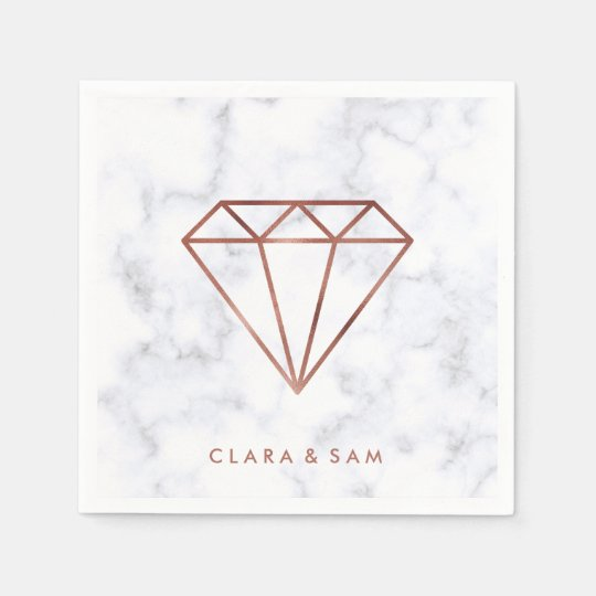 elegant clear faux rose gold diamond white marble