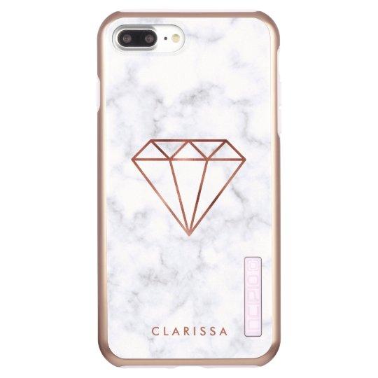 elegant clear faux rose gold diamond white marble