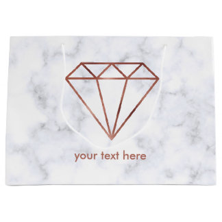 elegant clear faux rose gold diamond white marble large gift bag