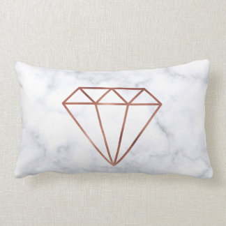 elegant clear faux rose gold diamond white marble lumbar cushion