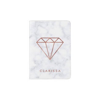 elegant clear faux rose gold diamond white marble passport holder