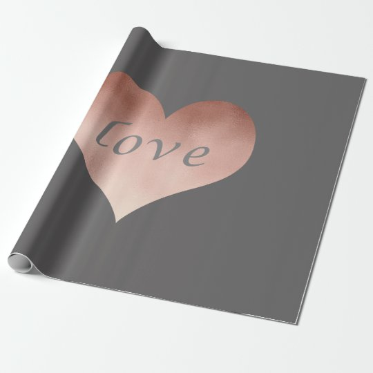 elegant clear faux rose gold love text heart