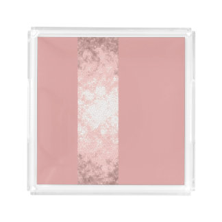 elegant clear faux rose gold pink stripes