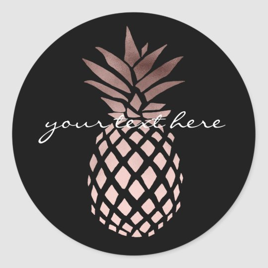 elegant clear faux rose gold tropical pineapple classic