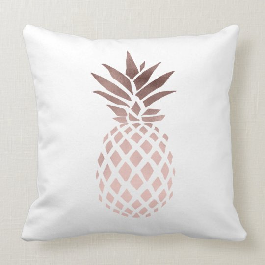 elegant clear faux rose gold tropical pineapple cushion