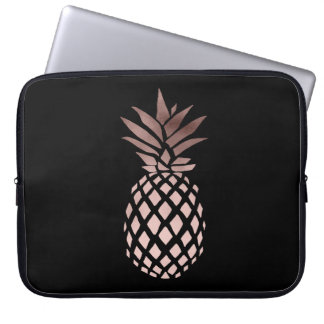 elegant clear faux rose gold tropical pineapple laptop sleeve