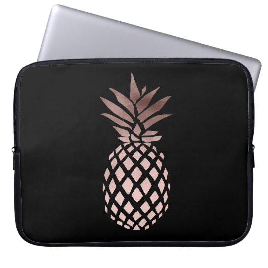 elegant clear faux rose gold tropical pineapple laptop