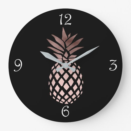 elegant clear faux rose gold tropical pineapple large